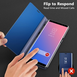 Image 2 - Smart Mirror Flip Case For Samsung Galaxy Note 10 9 8 S10 S9 S8 Plus S7 A9 A7 A8 2018 A10 A20 A30 A50 A60 A80 A70 M10 A20E Cover