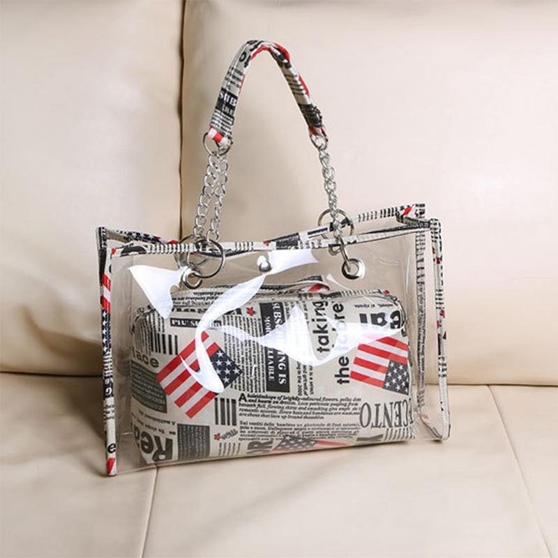 S.IKRR Summer Fashion Women Bags 2020 Clear Handbag Chain Shoulder Bag Transparent Composite Designer Tote Bags Beach Hand Bag