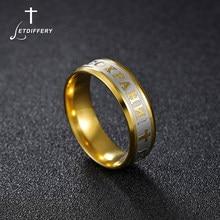 Letdiffery religieux russe anneau en acier inoxydable russe jésus croix anneau dieu sauver nous amulette anneau pour hommes femmes croix bijoux