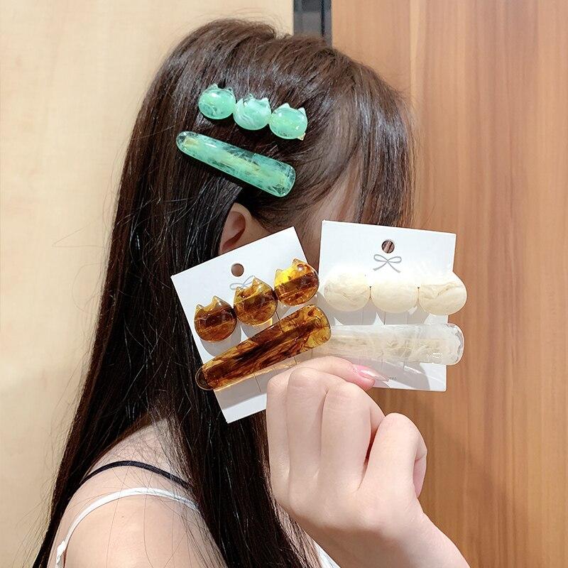 2pcs/Set New Women Girls Cute Acrylic Cat Barrettes Sweet Headband Hair Clips Hairpins Hair Ornament Fashion Hair Accessories