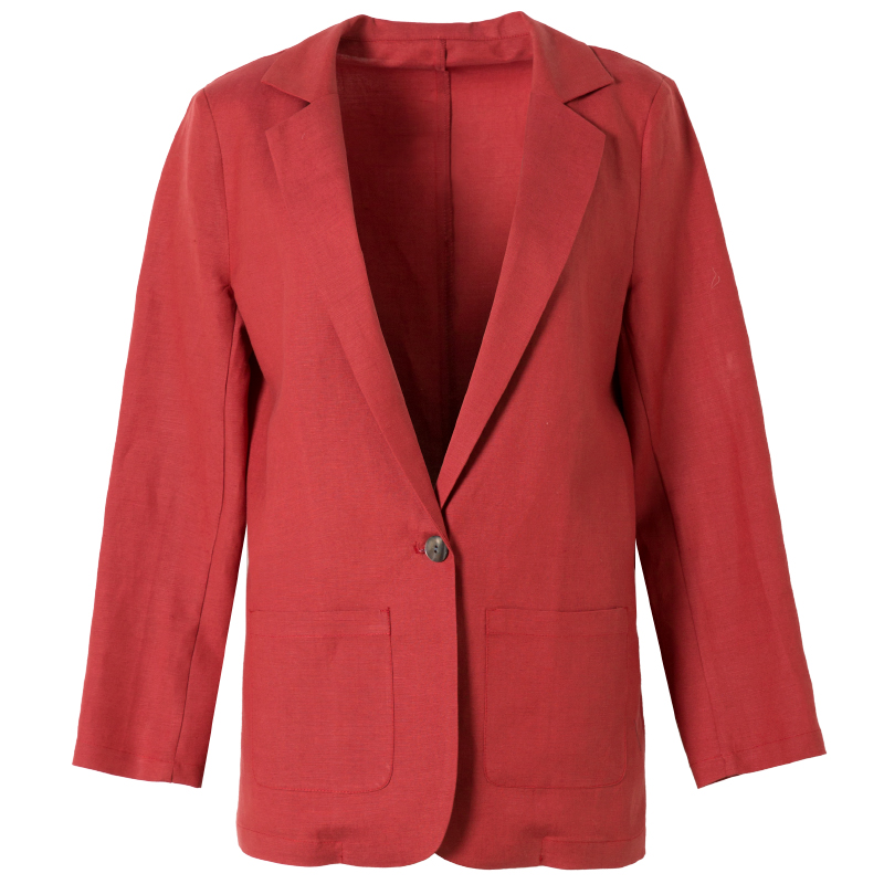 SuyaDream Women Silk Blazers 50%Silk 50%Linen Single Button Long sleeved Two Pockets Office Lady Solid Blazers 2019 New