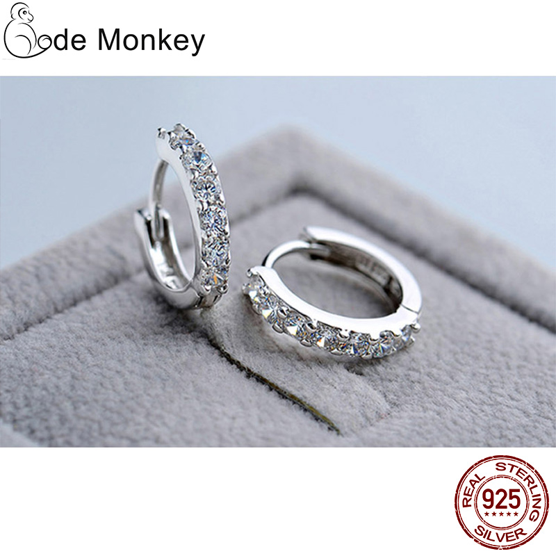 CodeMonkey 100% Real 925 Sterling Silver Crystal Circle Earring For Women Making Jewelry Gift Wedding Party Engagement E024