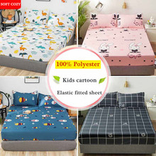 WOSTAR 100% polyester kids cartoon fitted sheet Elastic band Mattress Cover 180x200cm single full queen king size Bed Sheet