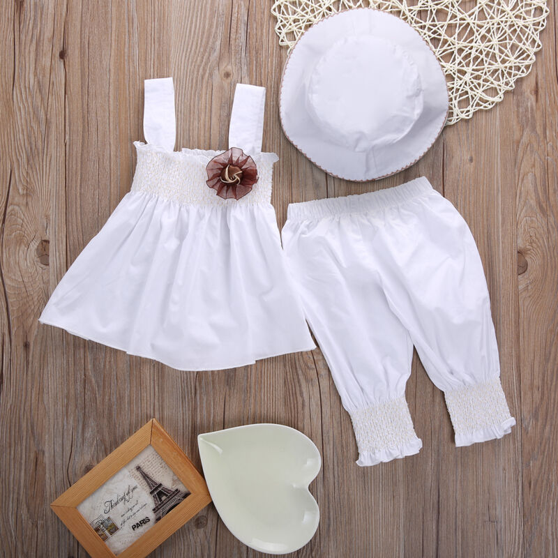 3pcs Newborn Clothes Set Solid White Sling Dress For Girls Long Pants Hats Baby Girls Clothing Set Toddler Birthday Party Outfit
