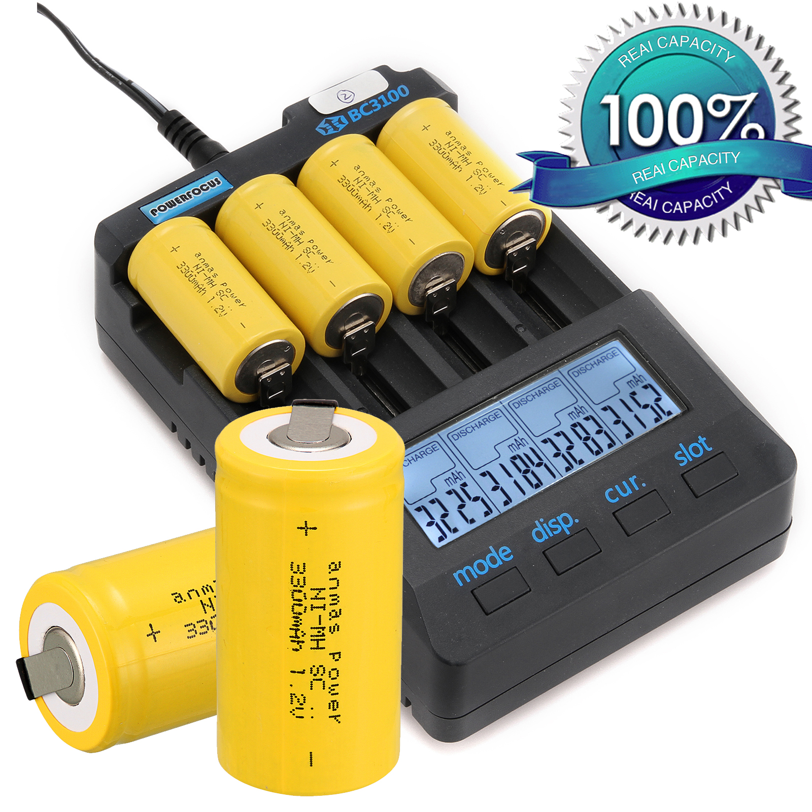 2/4/8PCS Anmas Power 1.2V 3300mAh Ni-MH Sub C SC Batteries Rechargeable Battery 1.2 v NiMH Battery with tab Yellow image