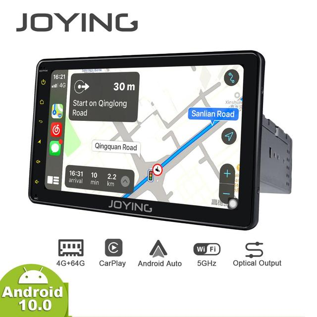 JOYING Android 10.0 Single din Car Radio Player 7/8/9 inch stereo head unit Octa Core 4GB RAM&64GB RAM Support 4G DSP Carplay HD