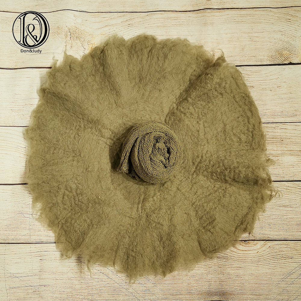 Don&Judy 2pcs/set 100% Wool Felt Fleece Blanket+ Wrap Super Soft Basket Filler Stuffer Newborn Baby Photography Props