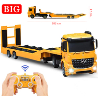 RC Tow Truck Detachable Flatbed Semi Trailer Engineering Remote Control Trailer Truck Electronics Toy with Sound and Lights
