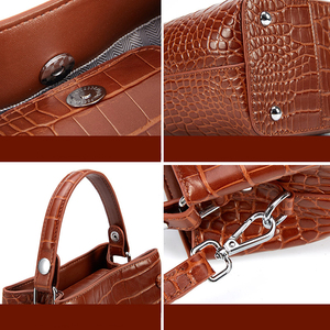 Image 5 - BISONJS Women Bucket Handbag Luxury Top Handle Leather Small Women Bag Fashion Female Messenger Crossbody Shoulder Bag B1838