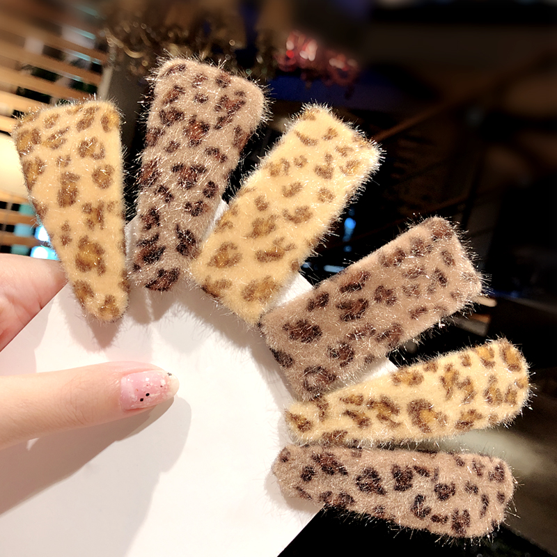 New Women Elegant Leopard Plush Geometric Hair Clips Sweet Hairpins Barrettes Hair Ornament Headband Fashion Hair Accessories
