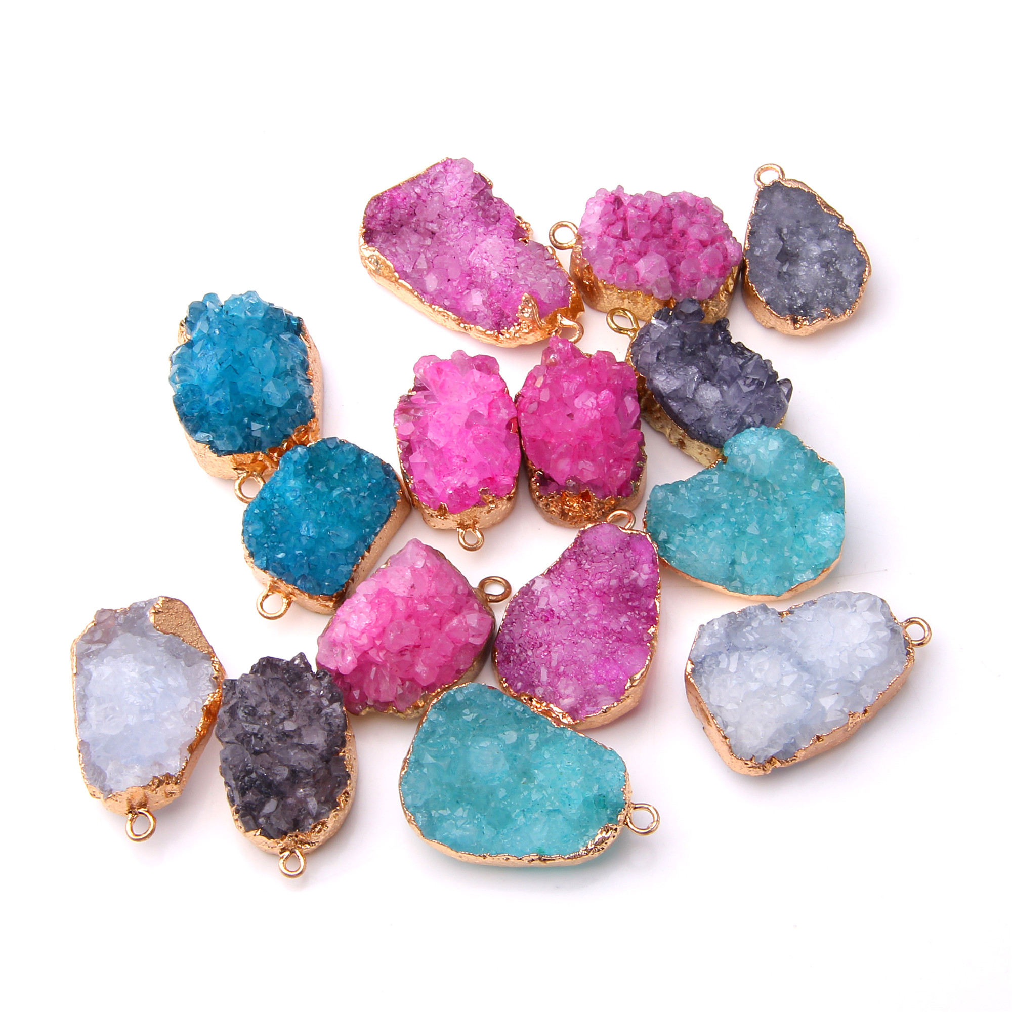JAB Cluster Aura Druzy Quartz Crystal Point Genuine Natural Turquoise PendantJewelry for Necklace