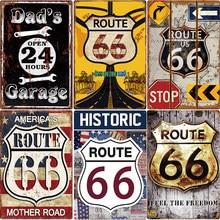 Nos la Ruta 66 estaño signo Vintage PLACA de Metal Pin Up signo decoración Bar Pub Cafe hombre cueva garaje decoración de la pared de hojalata de pintura