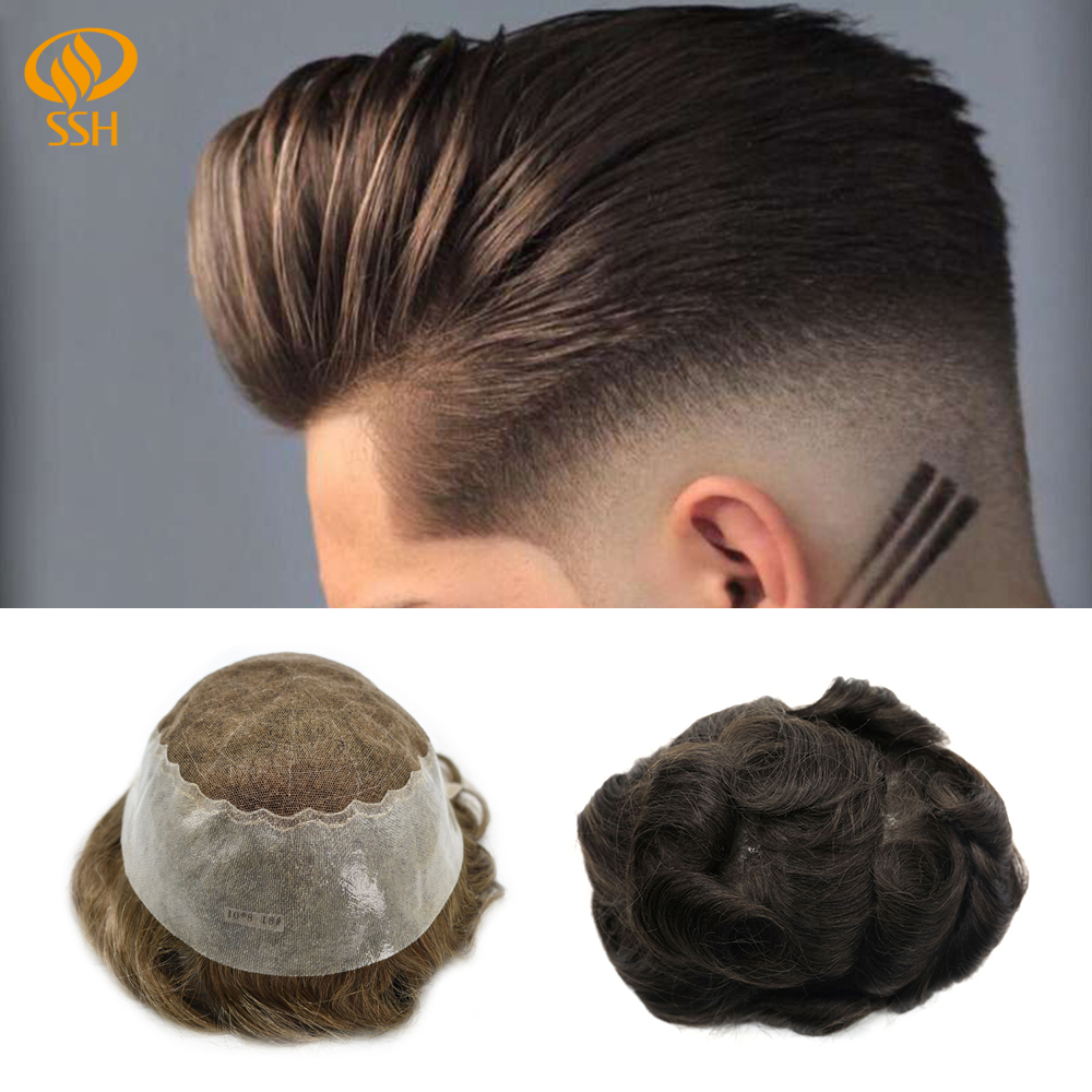 SSH Remy Hair Breathable French Lace Mens Toupee Lace Front Hairpiece For Men Hair Wig