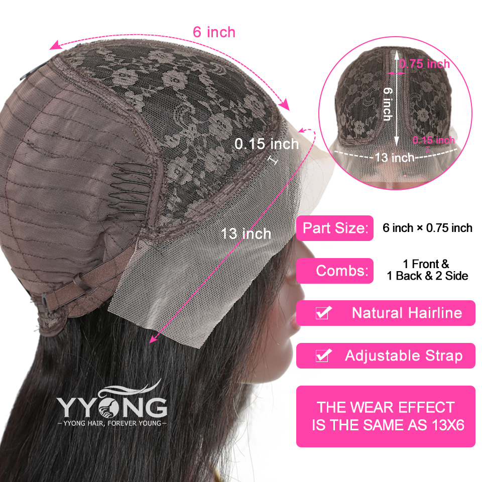 YYong 1x6 T Part Lace Wig HD Transparent Lace  Wig   Straight  Lace Part Wig Pre Plucked 3