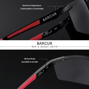 Image 2 - BARCUR Aluminum Magnesium Sports Polarized Sunglasses Men Mirror Sun Glasses Male oculos