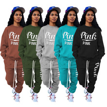 Pants Suit Sweatshirt Jogger Fitness Outfit Two-Piece-Set Print Pink Women's Letter Active
