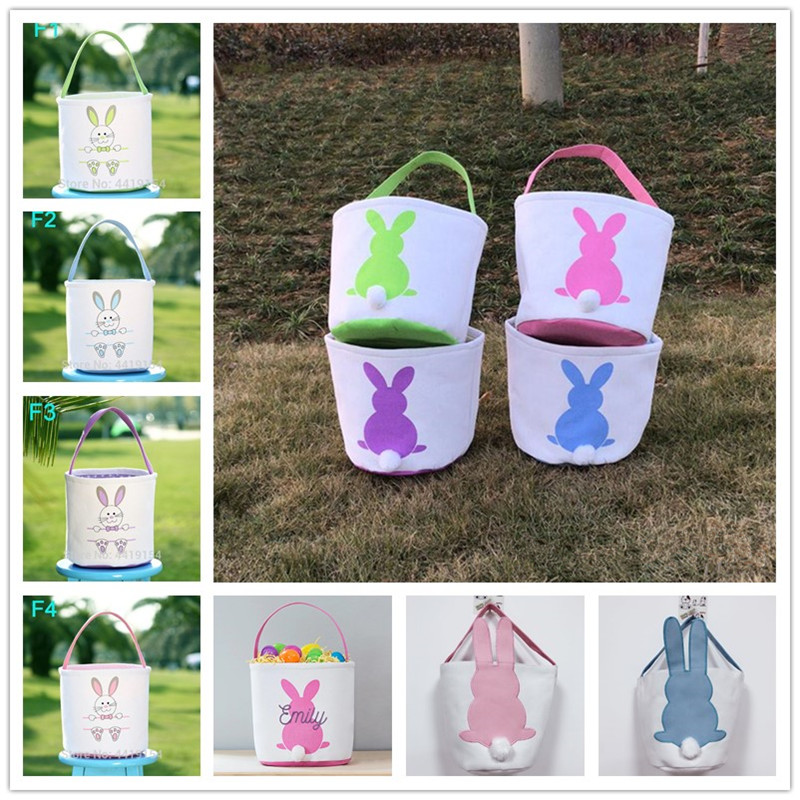 10pcs/lot Easter Basket Bunny Tote Bag 40 Colors Personalized Rabbit Tail Buckets Kids Gift Bag Happy Easter Decoration