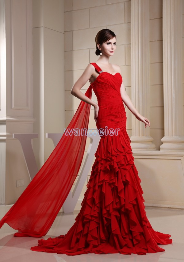 Free Shipping 2016 New Arrival Hot Fairy Tale Dress One Shoulder Custom Size/color Red Crystal Mermaid Chiffon Bridesmaid Dress