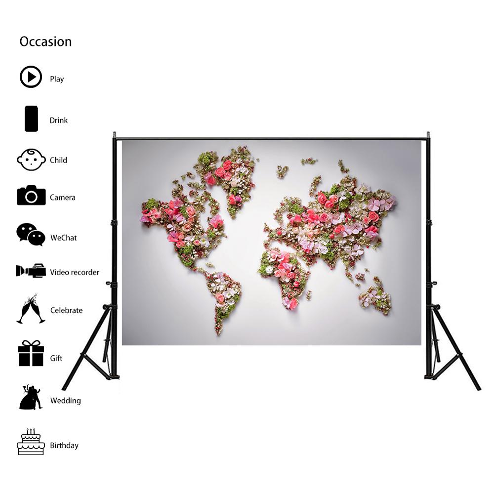 Image 4 - 150x100cm Non woven DIY World Map Plate Pattern Made With Beautiful Flower For Wall Decor    -