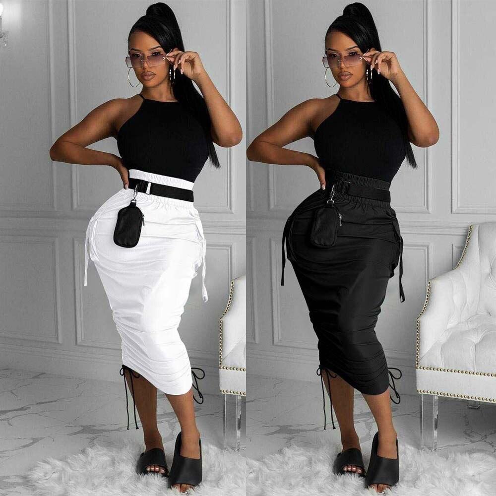 New 2021 Women High Waist Pocket Side String Draped Bodycon Midi Skirts for Streetwear Black White Skirt Plus Size