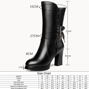 Image 5 - AIYUQI 2020 new genuine leather women boots size 40 wool women genuine winter boots High heeled motorcycle boots women