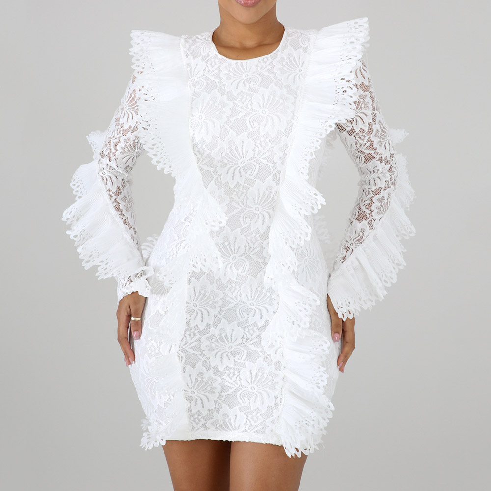 African Ladies Party Lace Dress Sexy White Long Sleeve Bodycon Mini Plus Size Dresses Night Club Evening Short Pencil Dress Fall