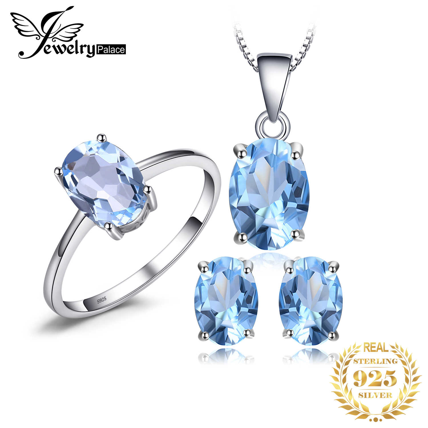 Sky Blue Topaz Chain Pendant Necklace Earrings Ring Set 925 Sterling Silver Gemstones Jewelry Sets Silver 925 Jewelry For Women