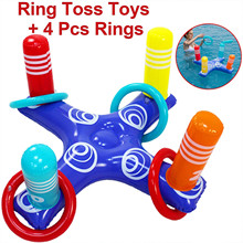 Outdoor Fun  Inflatable Ring Toss Pool Game Toys Floating Swimming Pool Ring with 4 Pcs Rings  Family Party Game Accessories#G