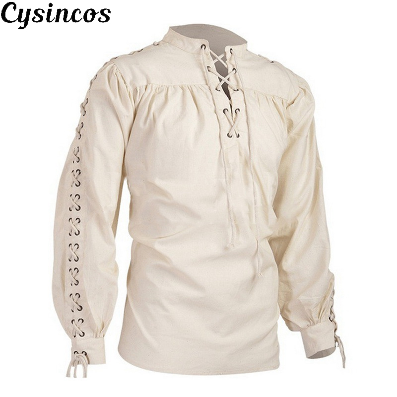 CYSINCOS Mens Blouse Medieval Pirate Shirt Viking Renaissance Lace Up Halloween Mercenary Scottish Jacobite Ghillie Tops New
