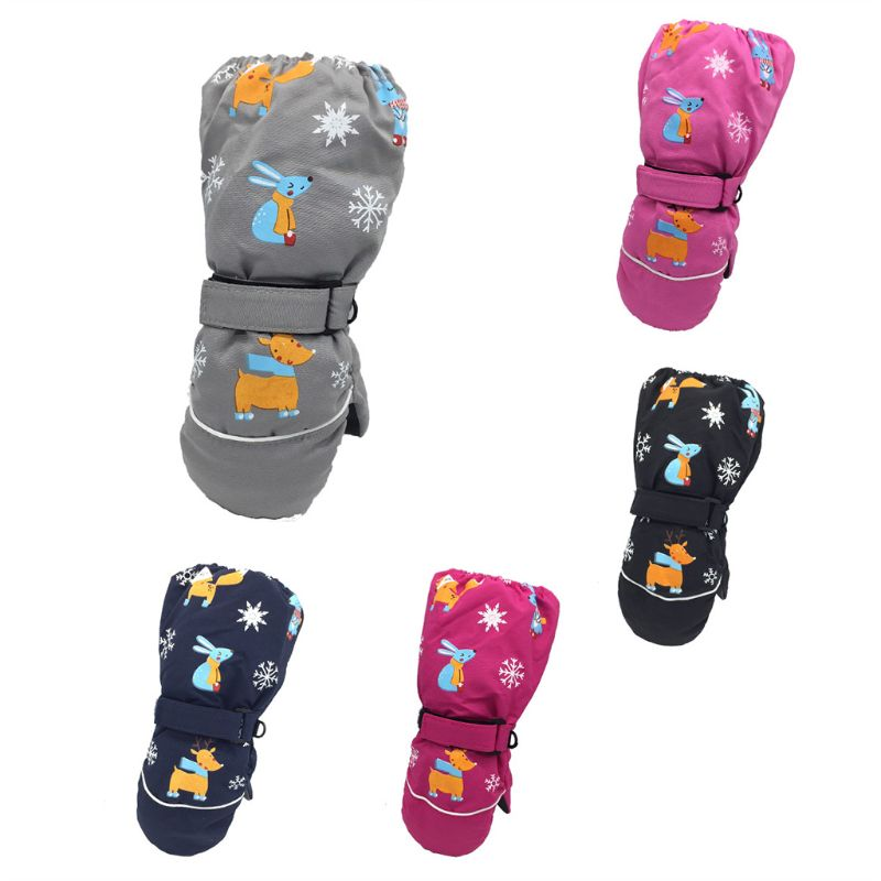Toddler Kids Winter Waterproof Windproof Long Cuff Gloves Cute Rabbit Deer Printed Thicken Warm Snow Ski Non-Slip Mittens 2-6 T