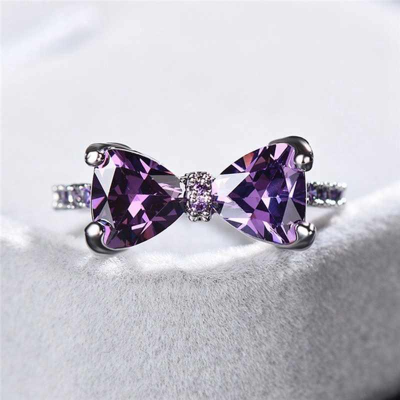 Бантик кристалл фиолетовый циркон обручальное кольцо для женщин очаровательные Роскошные обручальные кольца Модные женские ювелирные изделия подарок на Рождество
