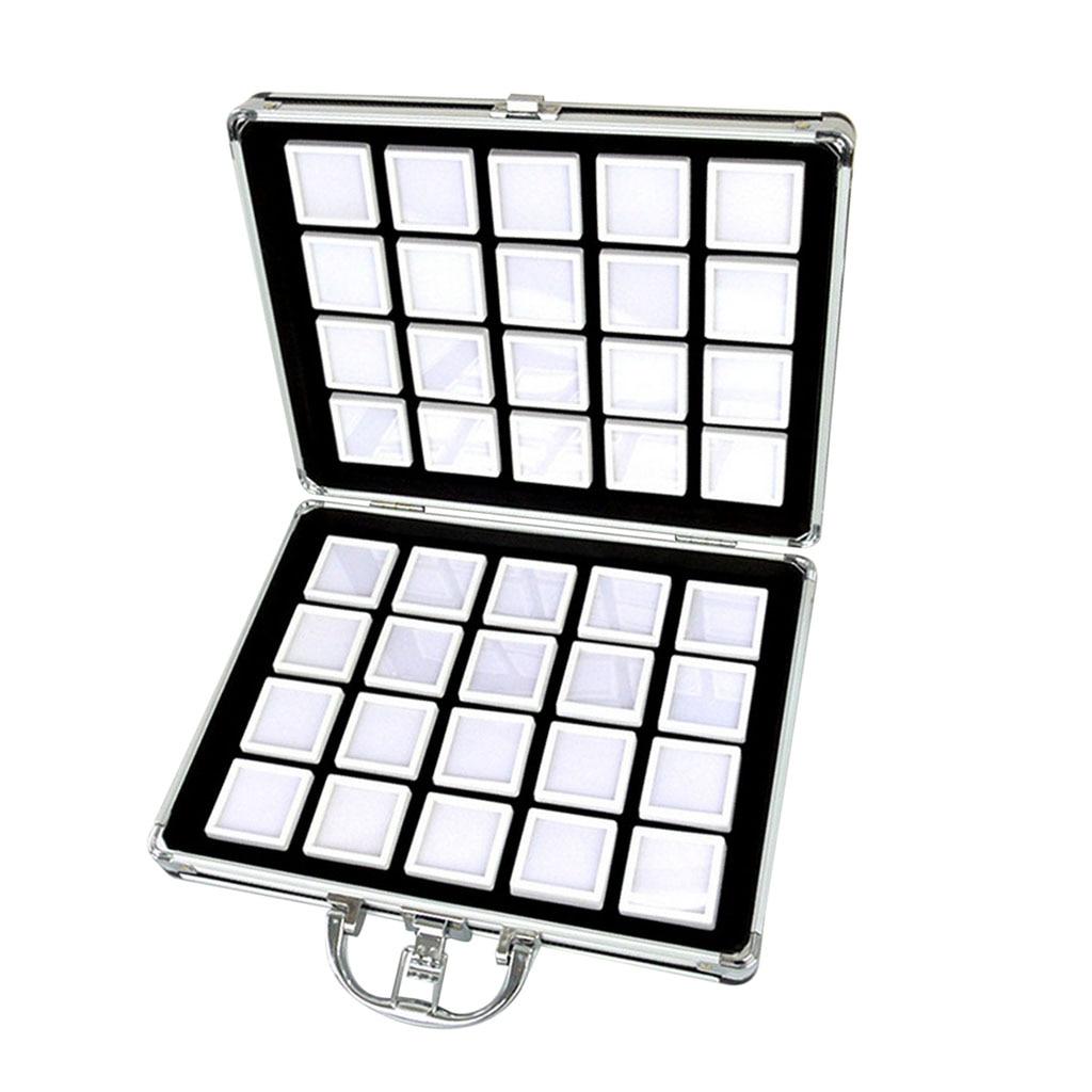 Boîte en alliage d'aluminium-Gem Jar mousse insérer plateau bijoux affichage organisateur pierres précieuses perles mallette de rangement