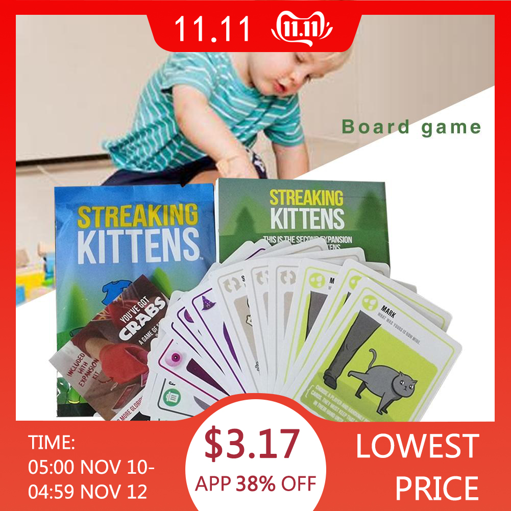 Streaking Kittens Board Game Funny Games Happy Drinking Game Cards Children's Kids Puzzle Paper Cards