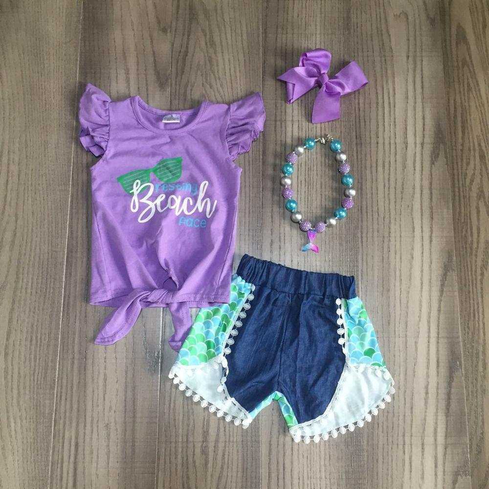 Baby Girls Summer Clothes Girl Lavender Shirt Wave Pants Outfits Girl Beach Outfits With Accessories
