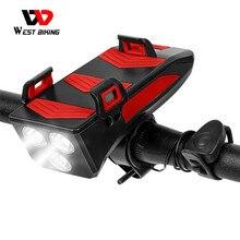WEST BIKING Multifunction 4 IN 1 Bike Light 400 Lumens Bike Flashlight Bike Horn