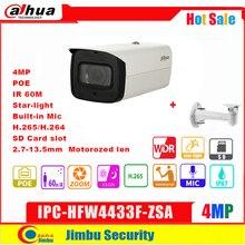 Dahua cámara IP POE de 4MP, IPC HFW4433F ZSA, 2,7mm ~ 13,5mm, lente varifocal motorizada con micrófono incorporado, H.265 /H.264, Micro SD, IVS