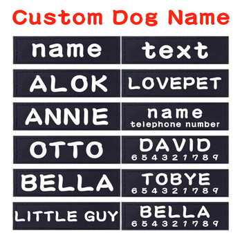 2 Pcs Pu Personalized Dog Tag Dog Name Custom K9 Dog Harness Collar Label Sticker Custom Dog Tag Pet Dog Harness Name Tag tanie i dobre opinie Znaczniki id CN (pochodzenie) Skóra Wszystkie pory roku List Breakaway Spersonalizowane Black