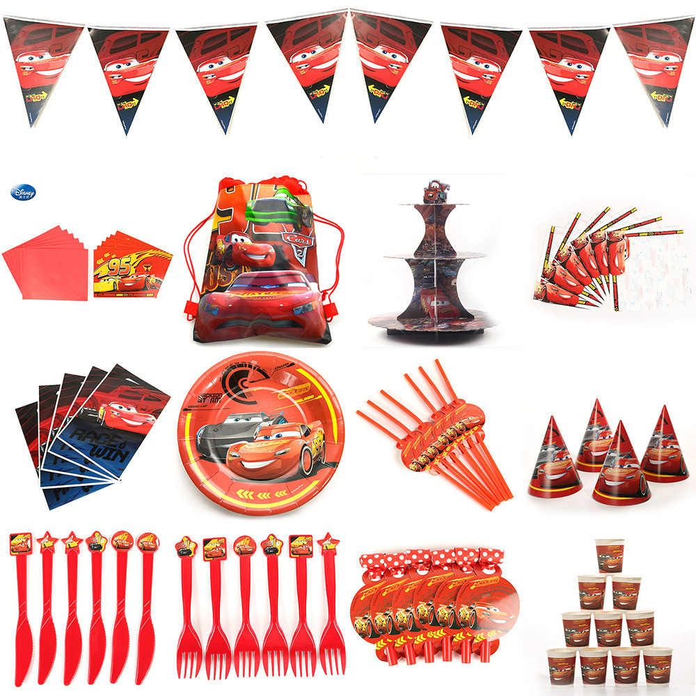 Belle automobili bambini Set di decorazioni per feste di compleanno automobili forniture per feste decorazione Baby Happy Birthday Party Pack