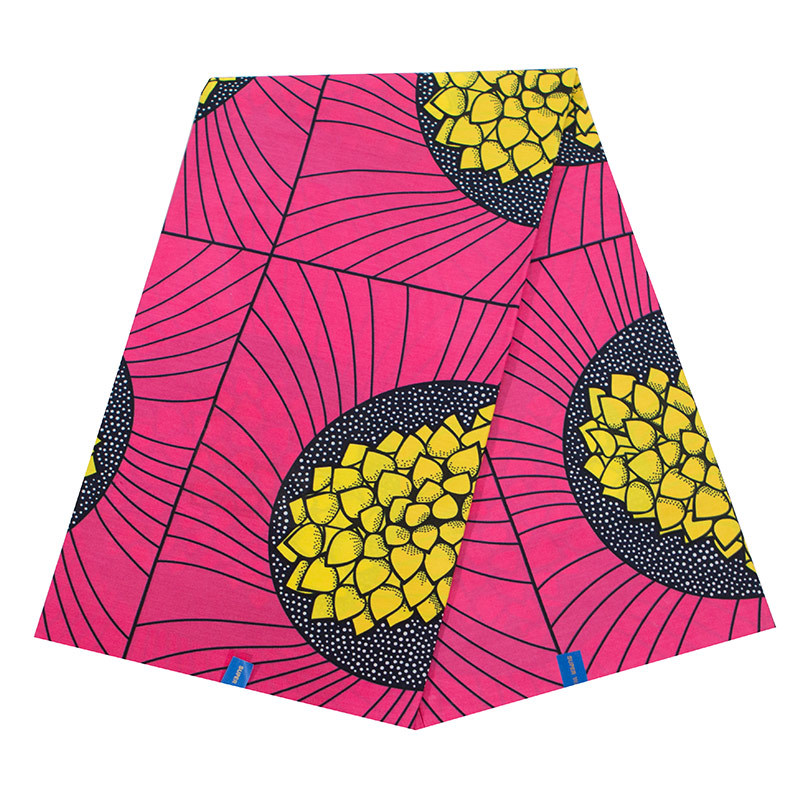 2019 New African Fabric Pure Cotton Pink And Yellow Print Fabric For Women Dress High Quality Guarantee Real Dutch Wax