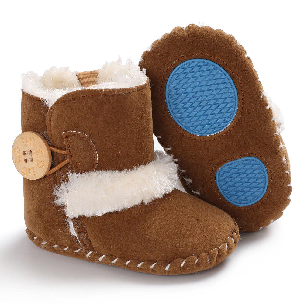 0-18M Newborn Infant Baby Girls Snow Boots Winter Warm Baby Shoes Solid Button Plush Ankle Boots 6