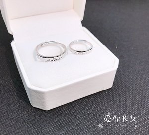 Image 3 - S925 스털링 실버 925 오리지널 럭셔리 오픈 엔드 링 Resizable Forever & Love you Charm 커플 링 Simple Fine Jewelry