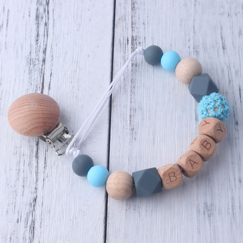 Personalized Beech Silicone Beads Pacifier Clips Holder Safe Chain Silicone Pacifier Wooden Nipple Chain Baby Gift