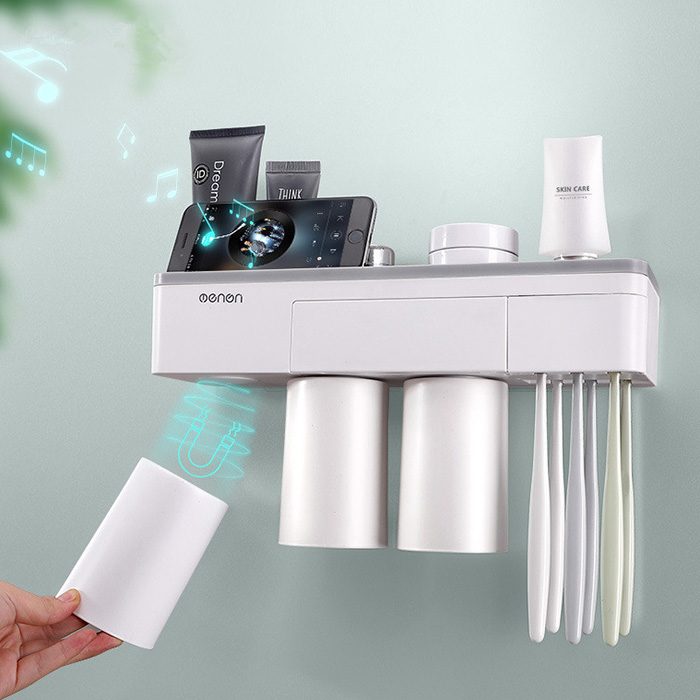 Creative Magnetic Seamless Wall-Mounted Toothbrush Holder Multifunctional Bathroom Storage Rack Storage Box With 3 Cups #4