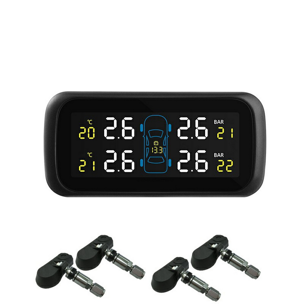 <font><b>U903</b></font> Auto Car Wireless <font><b>TPMS</b></font> Tire Pressure Monitoring System with 4 Sensors LCD Display Monitor Cigarette Lighter Socket image