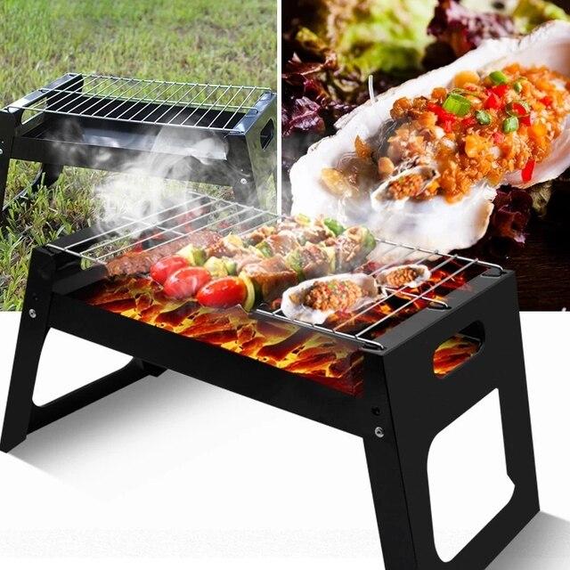 Barbecue pliant extérieur portatif de barbecue Installation de Camping gril jetable carré Simple pour des activités extérieures accessoires de barbecue