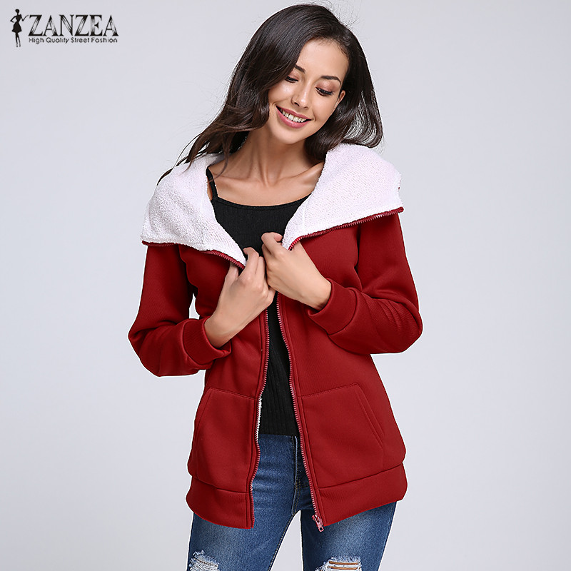 ZANZEA Women Winter Fleece Coats Hooded Sweatshirts 2020 Autumn Casual Loose Zipper Hoodies Tops Jackets Outwear Plus Size S-4XL