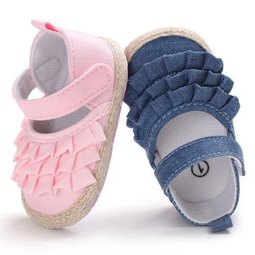 2019 Brand New Newborn Infant Baby Girl Summer Kids Shoes Soft Sole Crib Prewalker Toddler Anti-Slip Solid Ruffled First Walkers