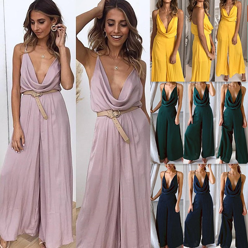Daily Suit OWLPRINCESS Women's Fashion New Summer Strap Solid Color Sexy Jumpsuits