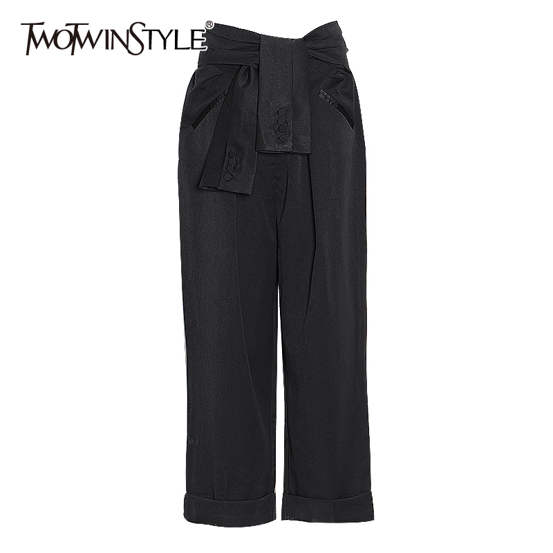 TWOTWINSTYLE Lace Up Pant Female High Waist With Sashes Tunic Long Casual Straight Loose Pants For Women Fashion Clothing Tide