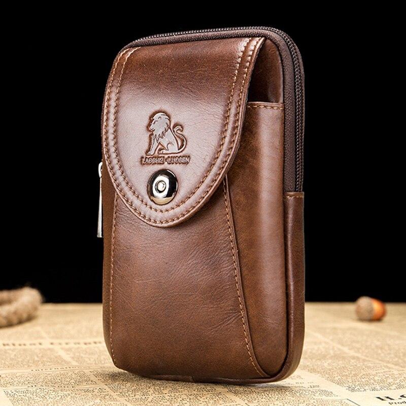 LAOSHIZI LUOSEN Fashion Belt Pouch Genuine Leather Belt Bag Men For Mobile Phone Waist Bag For Men Fanny Packs Small